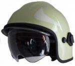 Feuerwehrhelm Calisia Typ AK/10 einschließlich der Gläser - Farbe hellgrün – mit klarem Visier