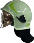 Feuerwehrhelm Kalisz Vulcan einschließlich Brille – hellgrün – gold Schild - Nachleuchtend